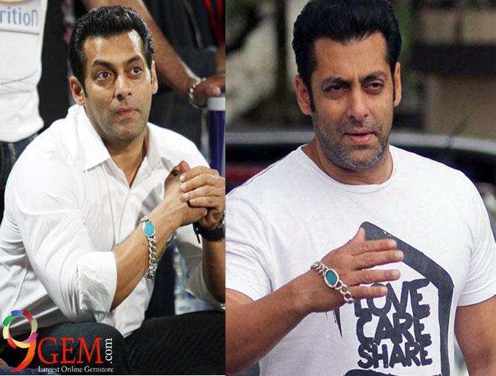 Salman Khan wear turquoise stone bracelet
