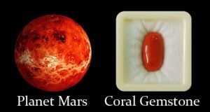 Planet Mars And Coral Gemstone