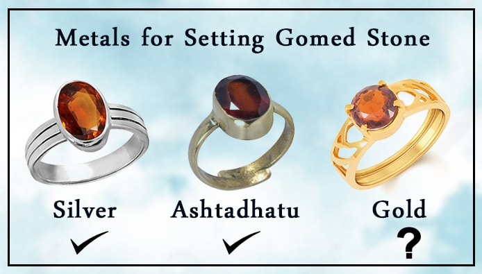 Which metal is suitable for wearing hessonite gemstone